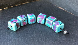 6 Pink Speckled Turquoise Cubes