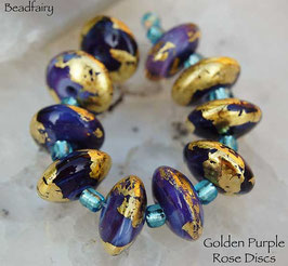 10 Golden Purple Rose Discs