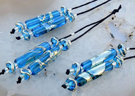 1 Pair * Aqua Bling Tubes *  4 Matching Beads