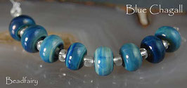 Blue Chagall, 8 handmade glass beads, special effect blue