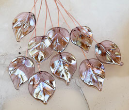 8 Golden Light Amethyst Leaves Head Pins