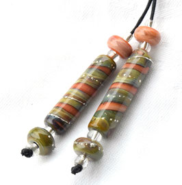 Silvered Raku Jupiter Tubes & 4 Accent Beads