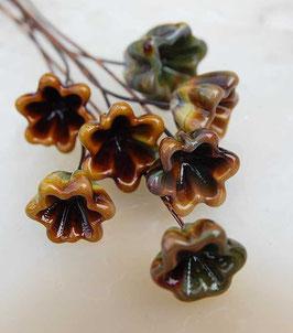 6 Raku Bellflower Headpins , Glass Head Pins, Earthy Organic