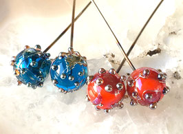 1 Pair * Fire Cracker* or *Aqua Bling Ball Headpins*