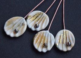 4 Ivory Gold Shells 23K Fine Gold Foil Head Pin