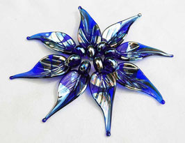 8 Metallic Cobalt Blue Leaves