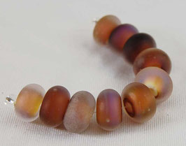 10 Earth Glow Seaglass Lampwork Beads Organic Brown Pink