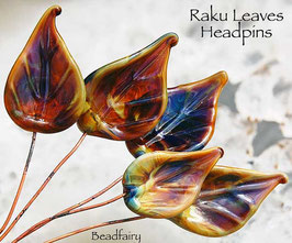 6 Raku Leaves Head Pins Set, Earthy colors