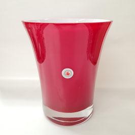 "Vase ""Konkav"", Farbe Rot-Opalweiß"