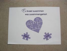 "Ballonflugkarten ""Puzzleteile lila"""