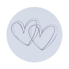 """1 Bogen mit 10 Verschluss-Siegel grau """"Herzen"""""""