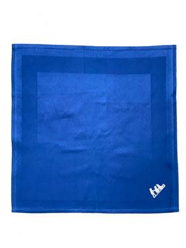 Damast-Serviette dunkelblau mit Atlasstreifen