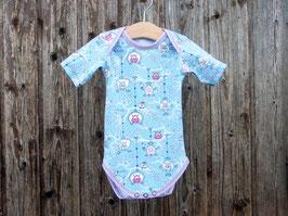 Babybody mit Eulen, hellblauer Body mit Muster, Bodysuit gemustert, Gr 50, Gr 62, Gr 74, Gr 86