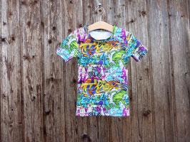 T-Shirt aus Baumwolljersey mit Graffitidruck, Baumwollshirt im Graffitilook, Babyshirt mit Druckknopf, knallbuntes Kurzarmshirt, Gr 56 - Gr 110