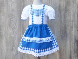 Blaues Karodirndlchen mit Puffärmeln, Babydirndlchen fürs Oktoberfest, blaukariertes Dirndlchen fürs Baby, Taufdirndlchen aus Vichykarostoff, Dirndl Frieda
