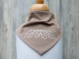 Bedrucktes Halstuch mit silbernen Eicheln als Outline, Trachtiges Dreieckstuch mit Foliendruck
