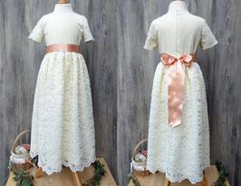 Cremefarbenes Brautmädchenkleid, langes Kleid für Blumenmädchen, elegantes Taufkleid, schickes Kommunionkleid, Kleid Gloria