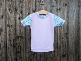 T-Shirt mit Eulen, fliederfarbenes Baumwollshirt, Babyshirt mit Druckknopf, hellblaues Kurzarmshirt, Gr 56 - Gr 110