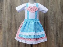 Rosendirndlchen, rosa Taufkleid, Taufe in Bayern, Babybody im Trachtenstil, Dirndl fürs Kind, Kleid fürs Oktoberfest, bayerisches Kleid, Dirndl Gerti
