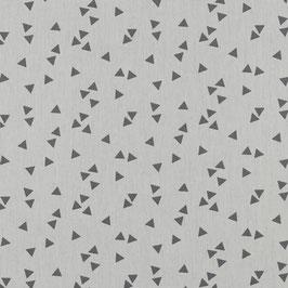 Baumwollstoff Triangle weiß/grau