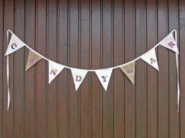 Hochzeits-Wimpelkette mit buntem Flockplott, personalisierbare Wimpelkette, individuelle Girlande, Girlande für Taufe, individualisierbare Wimpel für Babyparty