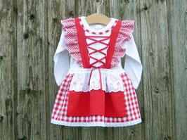 Rotes Taufkleid, Babysuit mit Dirndl, Hochzeit mit Baby, Kleid für Festlichkeiten, Brautmädchen rot-weiss-kariert, romantisches Taufgeschenk, Dirndl Walli