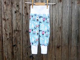 Bequeme Strampelhose, Jerseyhose mit breiten Bündchen, bunte Spielhose, Pumphose im Eskimolook, blaue Mitwachshose
