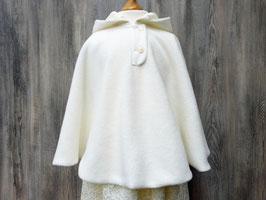 Cremfarbenes Taufcape, weißer Mantel für Kommunion, warmer Umhang fürs Brautmädchen, Cape Lissy
