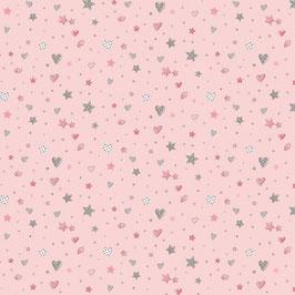 Baumwollstoff Sterne und Herzen rosa