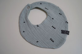 Wendehalstuch aus 100% Baumwolle - Dreiecke blassmint / Rückseite uni altmint (Unikat)