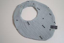 Wendehalstuch aus 100% Baumwolle - Dreiecke blassmint / Rückseite Blümchen altmint (Unikat)