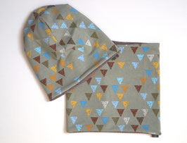 Beanie und Loop im Set - Khaki Dreiecke (Unikat)