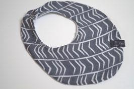 Wendehalstuch aus 100% Baumwolle - Pfeile grau / Rückseite uni graublau (Unikat)