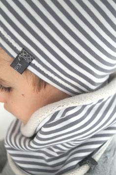 Sparset Beanie Mütze und Loop Schal - Streifen warm gefüttert