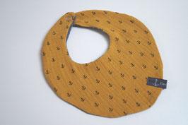 Wendehalstuch aus 100% Baumwolle - Anker senfgelb / Rückseite uni grau (Unikat)