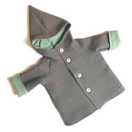 Jacke Waffelpique 100% Baumwolle - grau mit Wunschfarbe