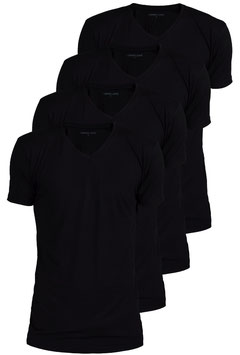 Viererpack schwarz - V-Ausschnitt