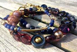 Diepblauw & -Paars Armbandenset met goud (3 stk)