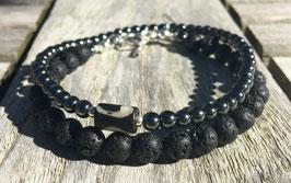 Lava Black Stacked Bead Bracelets