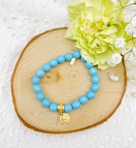 Bracelet pièce martelée turquoise 8 mm