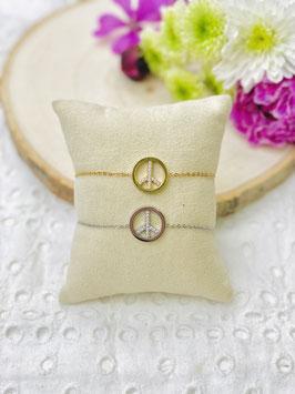 Bracelets Peace and love strass