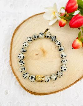 Bracelet bouddha jaspe dalmatien 8 mm
