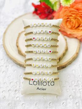Bracelets élastiques messages perles or