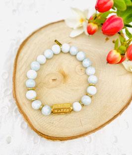 "Bracelets ""Happy, lucky, wish"" quartz bleu 8mm"