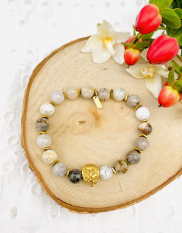 Bracelet lion agate beige 8 mm
