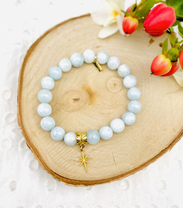 Bracelet étoile quartz bleu 8 mm