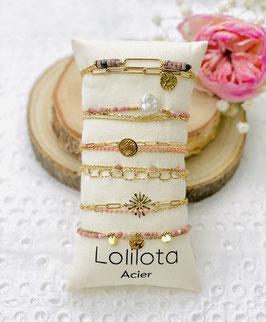 "Bracelets multirangs ""Yvone"" rose"