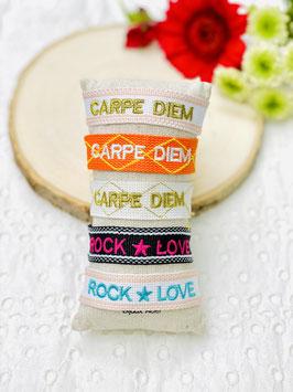 """Bracelet brésilien """"Carpe diem & Rock love"""""""