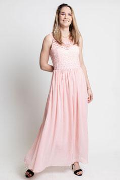 Robe longue rose clair buste dentelle et perles