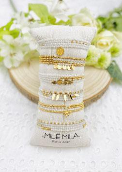 """Bracelets 4 tours """"Marianne"""" pierres naturelles agates blanches"""